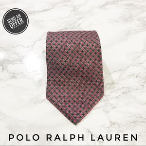 Polo Ralph Lauren Red Green Checkered Print Tie